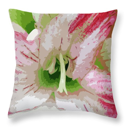 Flower Throw Pillow featuring the painting Amaryllis Center by Allan Hughes