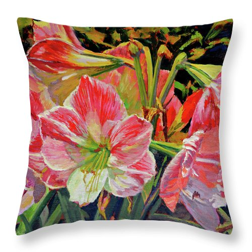 Impressionism Throw Pillow featuring the painting Amaryllis by Keith Burgess