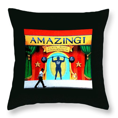 Sign Throw Pillow featuring the photograph Amazing Feats by Ross Lewis