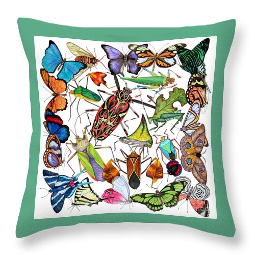 Insects Throw Pillow featuring the painting Amazon Insects by Lucy Arnold