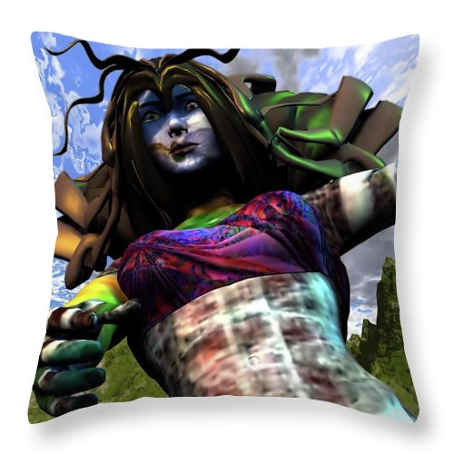 Woman Throw Pillow featuring the digital art Amazon Rescue by Dave Martsolf