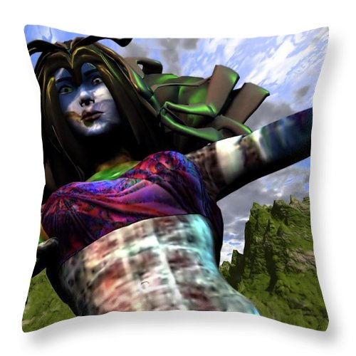 Amazon Throw Pillow featuring the digital art Amazon Rescue by Dave Martsolf