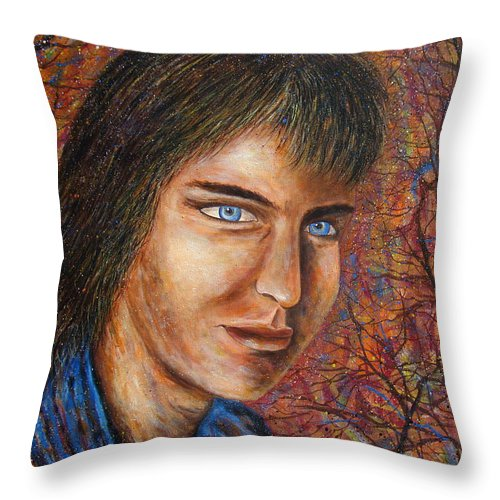 Colorful Autumn Throw Pillow featuring the painting Amber Glow by Natalie Holland