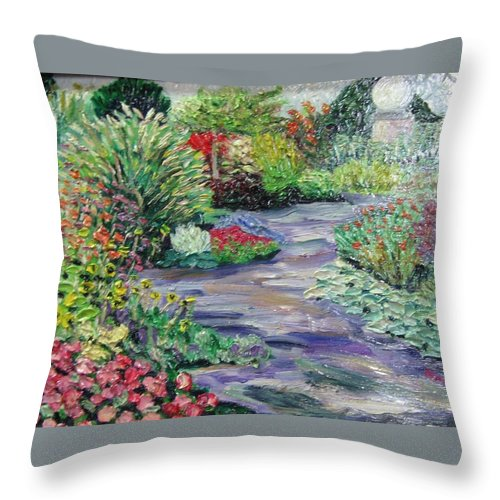 Park Throw Pillow featuring the painting Amelia Park Blossoms by Richard Nowak