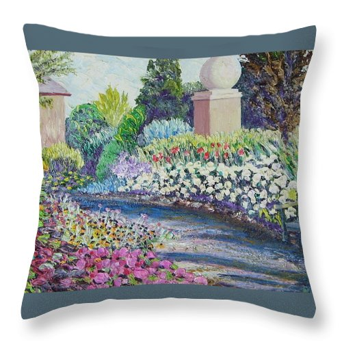 Flowers Throw Pillow featuring the painting Amelia Park Pathway by Richard Nowak