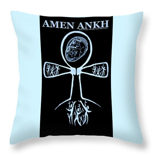 Spiritual Throw Pillow featuring the digital art Amen Ankh Indigo by Adenike AmenRa