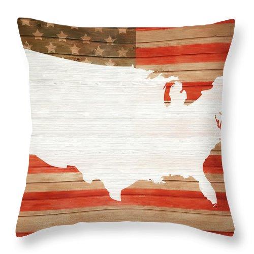 America Rustic Map On Wood Throw Pillow featuring the mixed media America Rustic Map On Wood by Dan Sproul