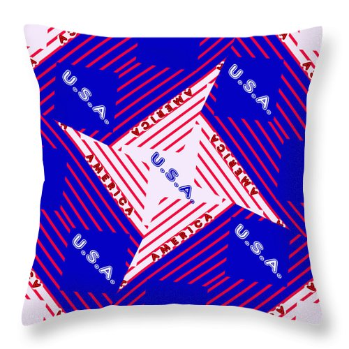 Abstract Throw Pillow featuring the digital art America-usa by Ericamaxine Price