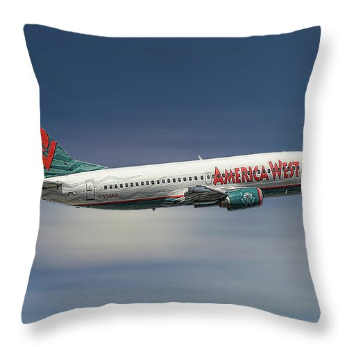 America West Throw Pillow featuring the mixed media America West Boeing 737-300 by Smart Aviation