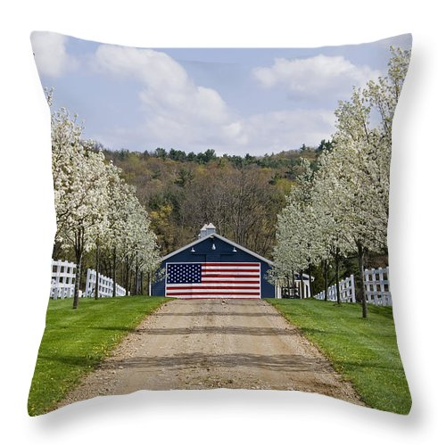 Spring Throw Pillow featuring the photograph American Barn by Tom Heeter
