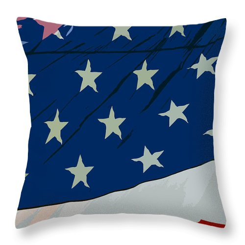 Flag Throw Pillow featuring the painting American Beauty by David Lee Thompson