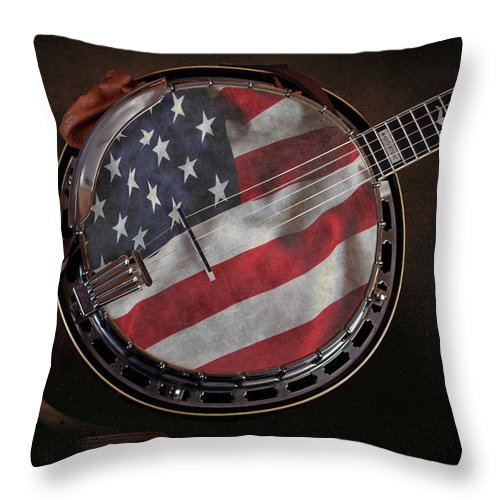 Gibson Throw Pillow featuring the photograph American Bluegrass Music by Tom Mc Nemar