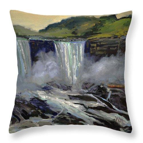 Niagara Falls Throw Pillow featuring the painting American Bridal Veil Falls by J R Baldini