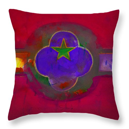 Star Throw Pillow featuring the painting American Cats And Flowers by Charles Stuart