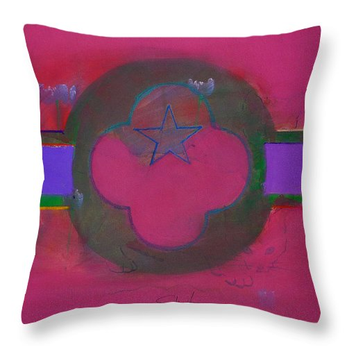 Star Throw Pillow featuring the painting American Cats And Poppies by Charles Stuart