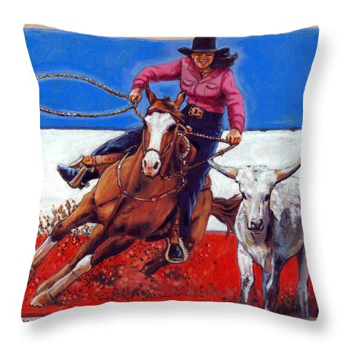 American Cowgirl Throw Pillow featuring the painting American Cowgirl by John Lautermilch