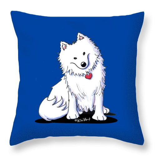 American Eskimo Throw Pillow featuring the drawing American Eski by Kim Niles