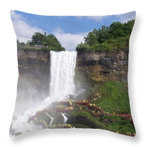 Niagra Falls Throw Pillow featuring the photograph American Falls At Niagra by Laurie Paci