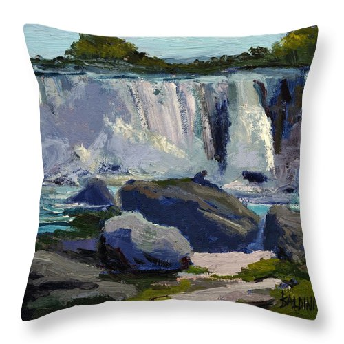 Niagara Falls Throw Pillow featuring the painting American Falls by J R Baldini