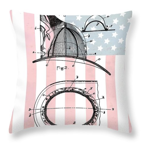 American Firefighter's Helmet Throw Pillow featuring the digital art American Firefighter's Helmet by Dan Sproul