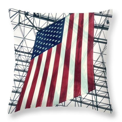 Flag Throw Pillow featuring the photograph American Flag In Kennedy Library Atrium - 1982 by Thomas Marchessault