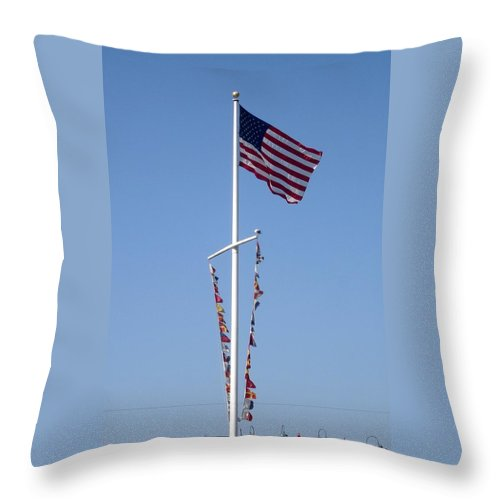 American Flag Throw Pillow featuring the photograph American Flag by Shelley Jones