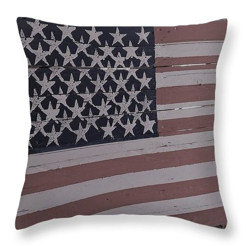 American Flag Shop Wood Working Handmade Pallet Art Throw Pillow featuring the photograph American Flag Shop by Lee Barrett