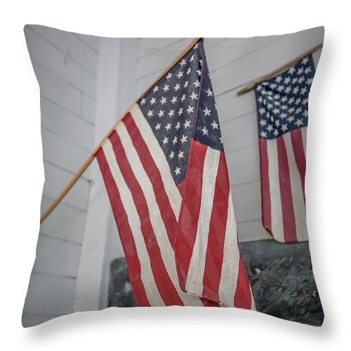 Red Throw Pillow featuring the photograph American Flags by Edward Fielding
