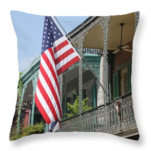 American Flag Throw Pillow featuring the photograph American French Quarter by Lauri Novak