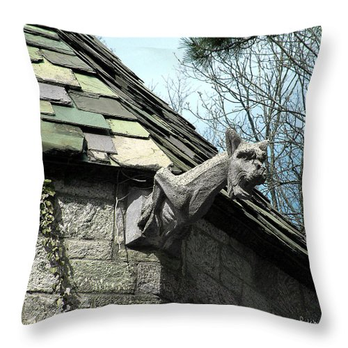 Architecture Throw Pillow featuring the photograph American Gargoyle by RC DeWinter