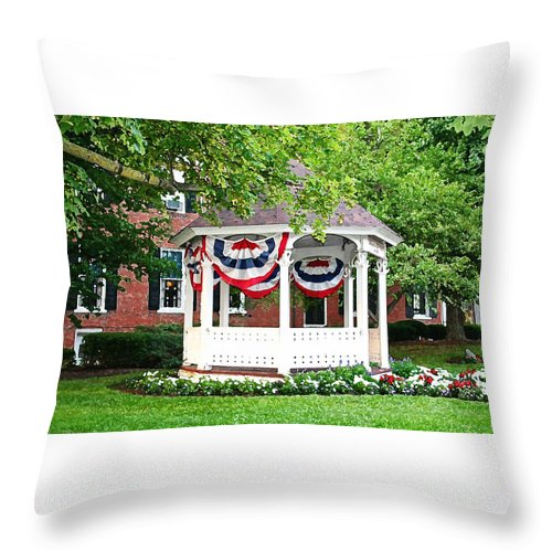 Gazebo Throw Pillow featuring the photograph American Gazebo by Margie Wildblood