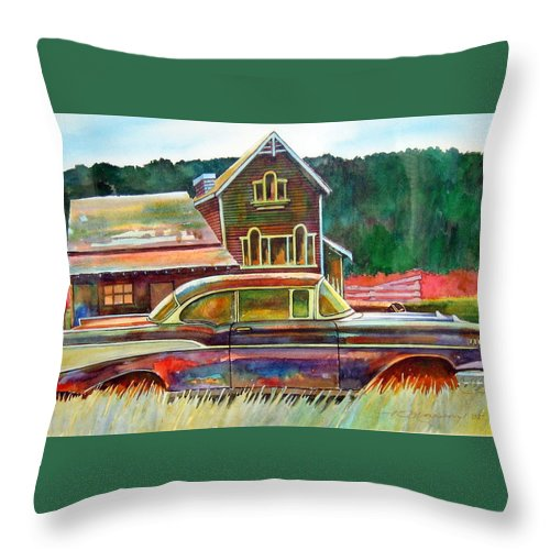 57 Chev Throw Pillow featuring the painting American Heritage by Ron Morrison