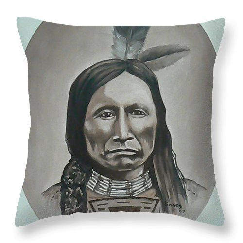 Michael Throw Pillow featuring the painting American Horse by Michael TMAD Finney