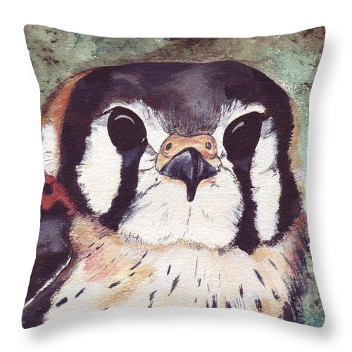 Raptor Throw Pillow featuring the painting American Kestrel by Debra Sandstrom