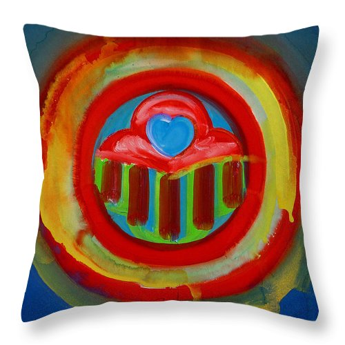 Button Throw Pillow featuring the painting American Love Button by Charles Stuart