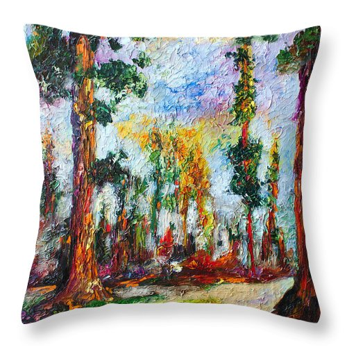 Impressionism Throw Pillow featuring the painting American National Parks Redwood Trees by Ginette Callaway