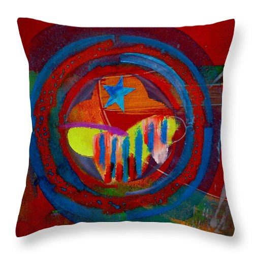 Button Throw Pillow featuring the painting American Pastoral by Charles Stuart