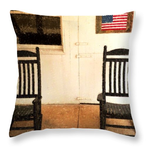Americana Throw Pillow featuring the photograph American Porch by Desiree Paquette