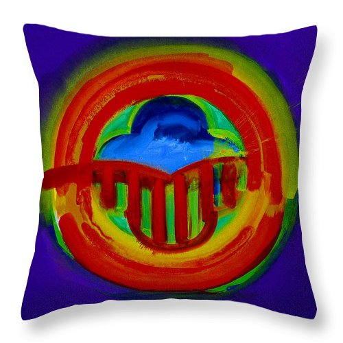 Button Throw Pillow featuring the painting American Power Button by Charles Stuart