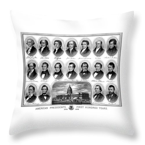Us Presidents Throw Pillow featuring the mixed media American Presidents First Hundred Years by War Is Hell Store