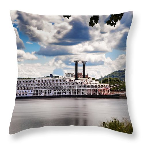 Boat Throw Pillow featuring the photograph American Queen In Winona by Al Mueller