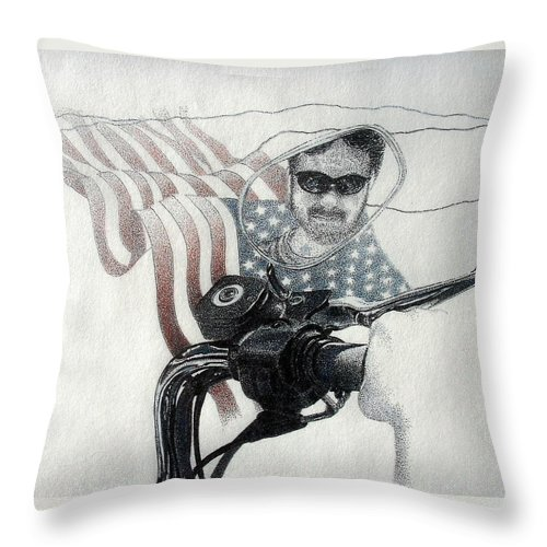 Motorcycles Harley American Flag Cycles Biker Throw Pillow featuring the drawing American Rider by Tony Ruggiero