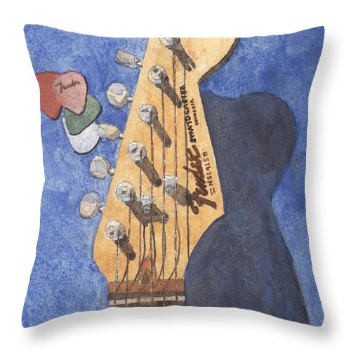 Guitar Throw Pillow featuring the painting American Standard by Ken Powers