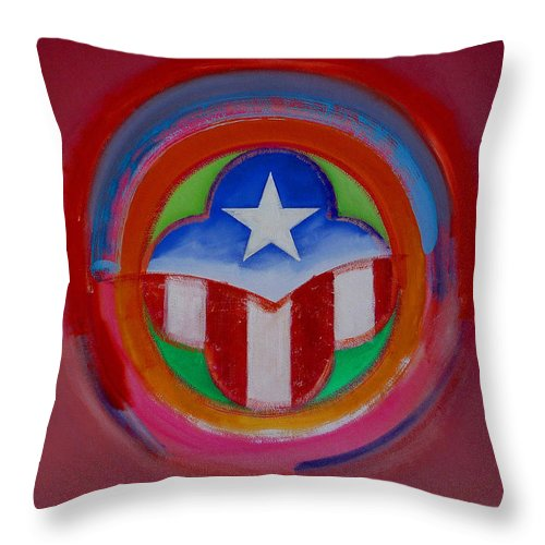 Button Throw Pillow featuring the painting American Star Button by Charles Stuart
