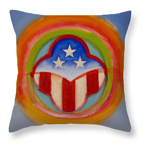 Logo Throw Pillow featuring the painting American Three Star Landscape by Charles Stuart