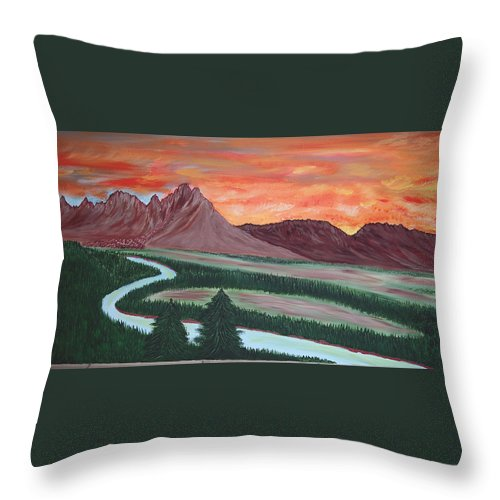 Landscape Throw Pillow featuring the painting American Valley by Marco Morales