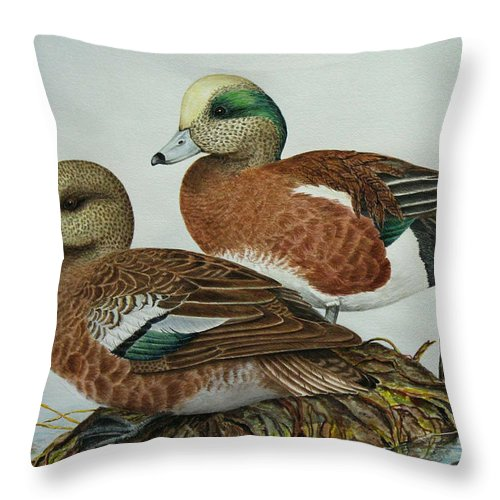 Ducks Throw Pillow featuring the painting American Widgeons by Elaine Booth-Kallweit