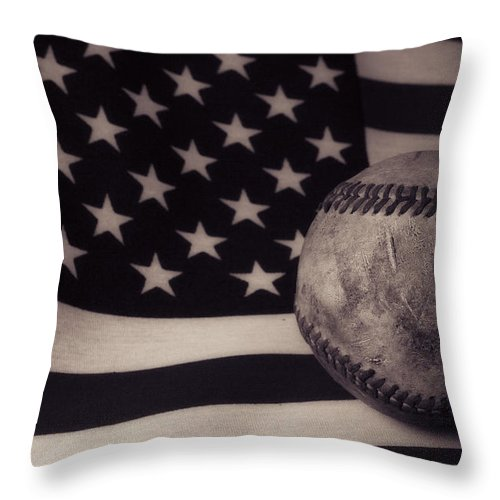 Baseball Throw Pillow featuring the photograph America's Game by Eugene Campbell