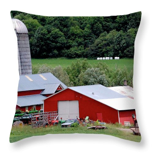Barns Throw Pillow featuring the digital art Americas Heartland by DigiArt Diaries by Vicky B Fuller