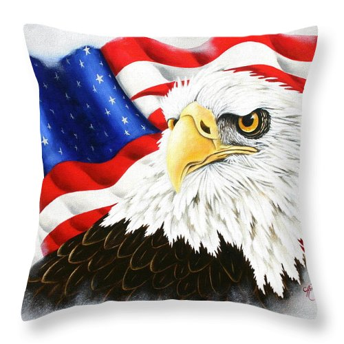 Eagle Throw Pillow featuring the painting Americas Pride by Ruth Bares